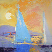 Yellow Sailboats Originals - Twilight Sails by Dorothy Fagan