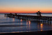 San Clemente Photo Framed Prints - Twilight San Clemente Pier Framed Print by Cliff Wassmann