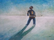 Hockey Player Paintings - Twilight Skate by Ron  Genest