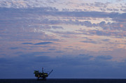 Sea Platform Framed Prints - Twilight sky and oil rig Framed Print by Bradford Martin