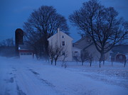 Winter Roads Photo Prints - Twilight Snow on Bauman Road Print by Anna Lisa Yoder