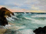 Bahamas Paintings - Twilight Surf by Larry Martin