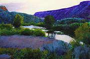 Creek Greeting Cards Prints - Twilight Taos Print by Cap Pannell