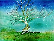 Fantasy Tree Art Paintings - Twilight Tree by Brenda Owen