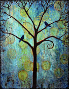 Birds Painting Prints - Twilight Tree of Life Print by Blenda Tyvoll