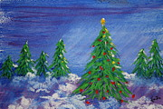 Snow Pastels - Twilight Trees by Linda Eversole