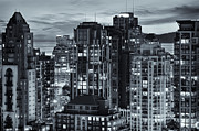 Buildings At Sunset Prints - Twilight Vancouver Cityscape Print by Amyn Nasser