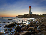 Lighthouse At Sunset Prints - Twilight Watch Print by James Charles