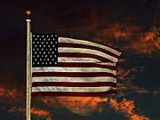 Usa Flag Mixed Media Metal Prints - Twilights Last Gleaming Metal Print by David Dehner