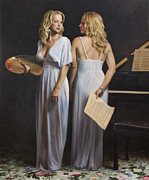 Music Art Painting Originals - Twin Arts by Anna Bain