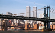 Brooklyn Bridge Digital Art Metal Prints - Twin Bridges Twin Towers - New York Metal Print by Daniel Hagerman