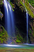 Lush Green Framed Prints - Twin Falls Framed Print by James Roemmling