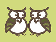 Twins Digital Art Prints - Twin Owl Babies- nursery wall art Print by Nursery Art