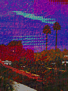 Haze Mixed Media Metal Prints - Twin Palms Purple Haze Metal Print by J Burns