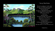 Landscape Mountain Trees Fisherman Art - Twin Ponds and 23 Psalm on Black Horizontal by Barbara Griffin