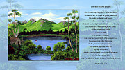 Landscape Mountain Trees Fisherman Art - Twin Ponds and 23 Psalm on Blue Horizontal by Barbara Griffin