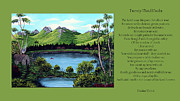 Landscape Mountain Trees Fisherman Art - Twin Ponds and 23 Psalm on Green Horizontal by Barbara Griffin