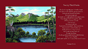 Landscape Mountain Trees Fisherman Art - Twin Ponds and 23 Psalm on Red Horizontal  by Barbara Griffin