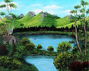 Landscape Mountain Trees Fisherman Art - Twin Ponds by Barbara Griffin