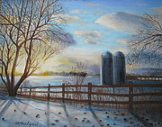Split Rail Fence Prints - Twin silos at dusk Print by Oz Freedgood