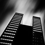 Black And White Photography Acrylic Prints - Twin Towers Acrylic Print by David Bowman