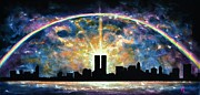 Twin Towers Trade Center Painting Metal Prints - Twin Towers Live Again Metal Print by Thomas Kolendra