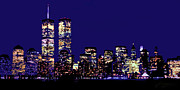 Twin Towers World Trade Center Prints - Twin Towers Skyline at Night Print by Dan Haraga