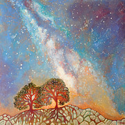 Tree Roots Paintings - Twin Trees and the Milky Way by Cedar Lee