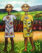 Tribal Art Gallery Paintings - Twins by Ephrem Kouakou