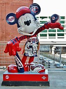 Minnesota Twins Mixed Media Prints - Twins Mickey Mouse Print by Todd and candice Dailey