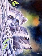 Raccoon Painting Posters - Twins on the Prowl Poster by Patricia Pushaw