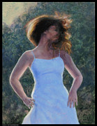 Evening Dress Paintings - Twirly Girl by Diana Moses Botkin