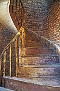 Wooden Stairs Prints - Twist and Turn Print by Cheri Randolph