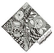 Rose Drawings Prints - Twisted Rose Bed Print by Kendall Banks