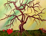 Symbolize Art - Twisted Tree and Roses by Janis  Tafoya