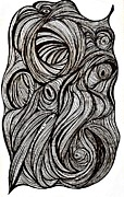Curls Drawings Posters - Twists and Turns Poster by Sarah Loft