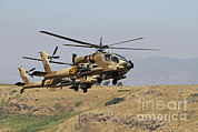 Attack Helicopters Framed Prints - Two Ah-64a Peten Attack Helicopters Framed Print by Ofer Zidon