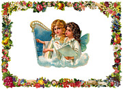 Christmas Cards Digital Art - Two Angels on Clouds by Munir Alawi