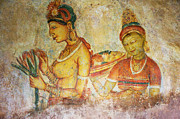 Old Face Framed Prints - Two Apsaras. Sigiriya Cave Painting Framed Print by Jenny Rainbow