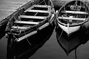 Boats In Harbor Metal Prints - Two At Dock Metal Print by Karol  Livote