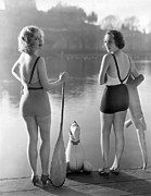 Bathing Photos - Two Bathing Beauties by Underwood Archives