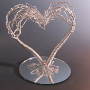 Tree Art Sculptures - Two Become One Flesh Wire Tree Wedding Cake Topper Sculpture by Ken Phillips