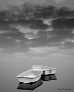 Reflecting Water Prints - Two Boats and Clouds Print by Dave Gordon