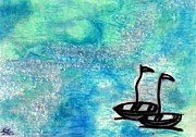 Original Oil Pastels - Two Boats by Carla Sa Fernandes