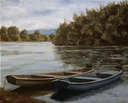 Teapot Paintings - Two boats on the Kupa by Andreja Dujnic