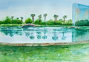 Hyatt Hotel Prints - Two Bridges at Rainbow Lagoon Print by Debbie  Lewis