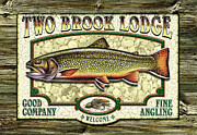 Jon Q Wright Brook Trout Fly Fishing Fly Fish Fishing Nymph Stream River Lake Posters - Two Brook Lodge Poster by Jon Q Wright