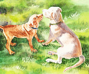 Game Painting Prints - Two Brothers Labradors Print by Irina Sztukowski