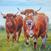 Mike Jory Cow Posters - Two Brown Cows with horns painting Poster by Mike Jory