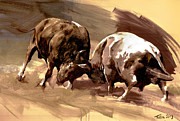 Fight Prints - Two Bulls Print by Dragan Petrovic Pavle